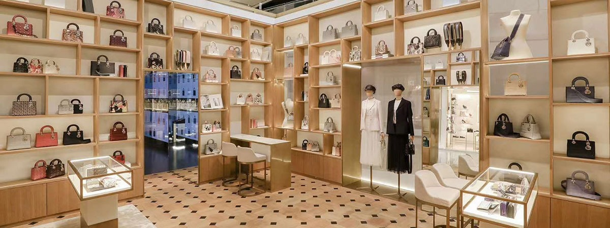 Printed see-through sheers serve as shop fitting for Christian Diors pop-up store
