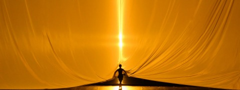 Colourfully backlit stage fabric